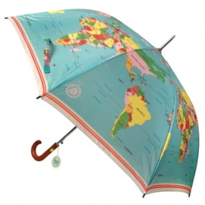 "Ombrello ""Vintage World Map"" con manico in legno"